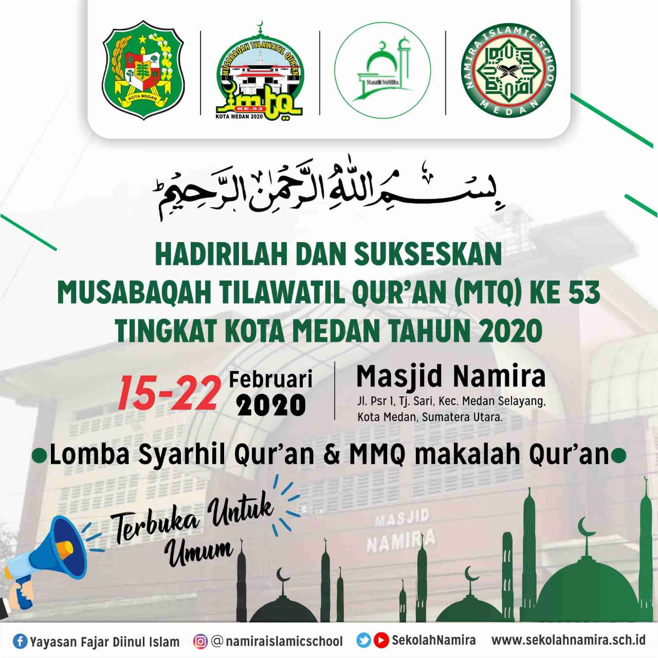 Alhamdulillah Sekolah Namira Menjadi Tempat Pelaksanaan Perlombaan Syarhil Quran dan MMQ pada MTQ Ke 53 Kota Medan