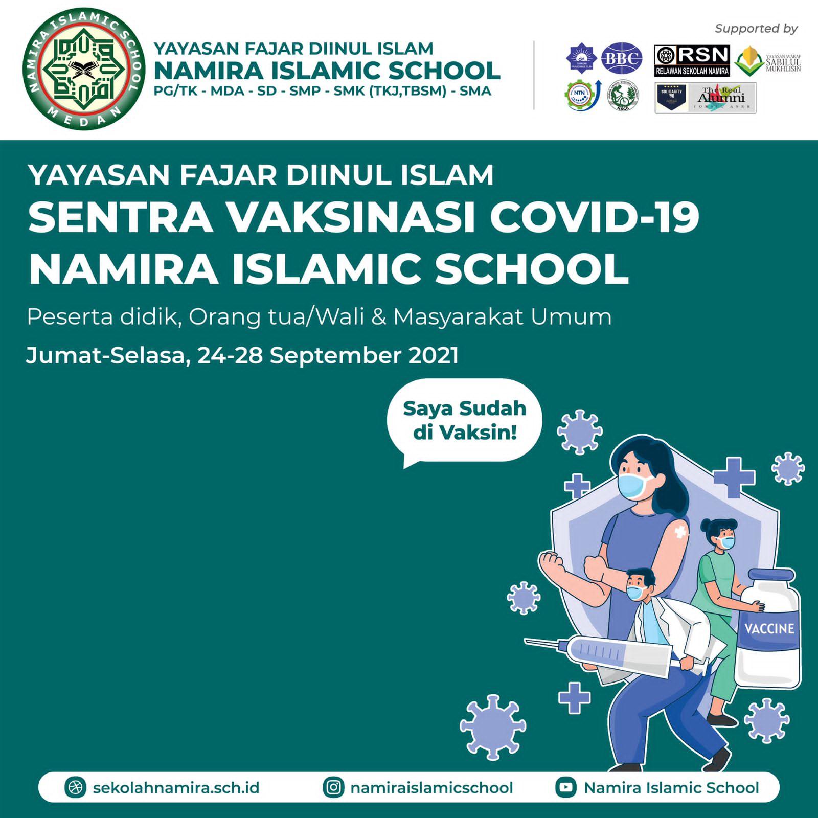 Sekolah Namira akan melaksanakan Sentra Vaksinasi untuk Masyarakat Umum